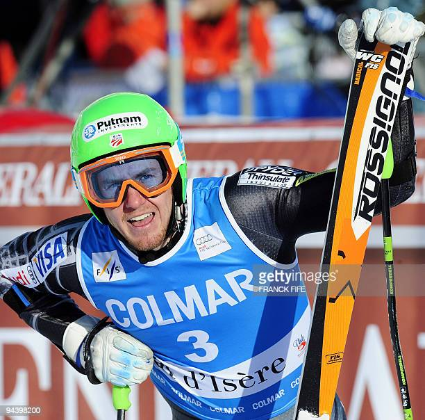 US Ted Ligety reacts after taking the 10th place in the finish area of the FIS World Cup Men's Giant Slalom on December 13 2009 in ValD'Isere French...
