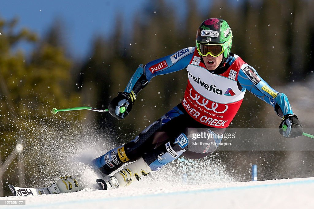 Ted Ligety #1 skis in the second run of the men's Giant Slalom on the Birds of Prey at the Audi FIS World Cup on December 2, 2012 in Beaver Creek, Colorado.