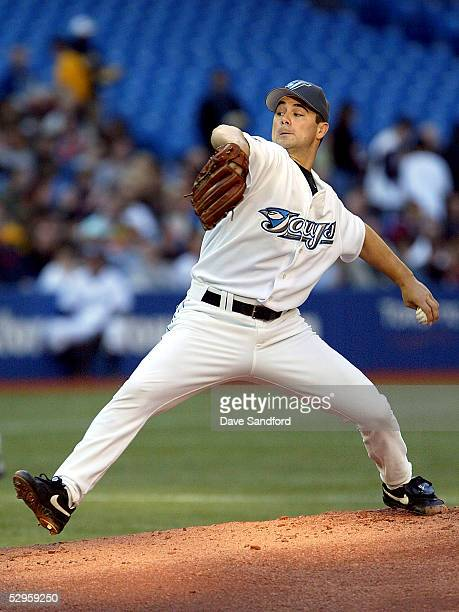 Ted Lilly of the Toronto Blue Jays throws a pitch against the Washington Nationals during the game at Rogers Centre on May 20 2005 in Toronto Ontario...