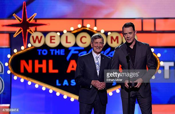 Ted Lindsay and Colin Hanks present an award during the 2015 NHL Awards at MGM Grand Garden Arena on June 24 2015 in Las Vegas Nevada