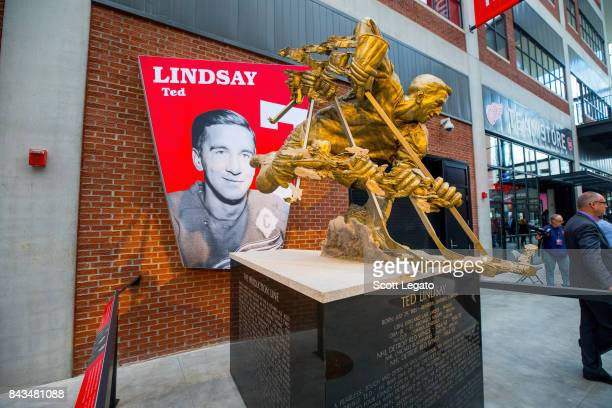 Ted Lindsay memorial statue at Little Caesars Arena on September 6 2017 in Detroit Michigan
