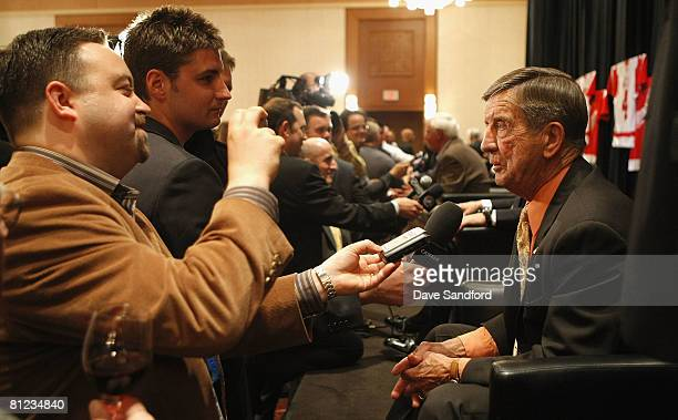 Ted Lindsay speaks to the media during Salute to Stanley Cup Legends at the Renaissance Center as the NHL honors members of the Detroit Red Wings...