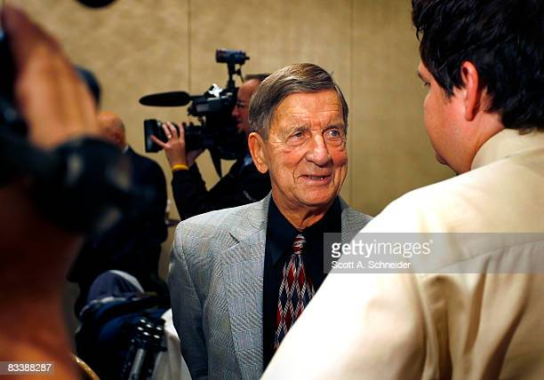 Ted Lindsay talks with the media at the Lester Patrick Award luncheon October 22 2008 at the St Paul Hotel in St Paul Minnesota