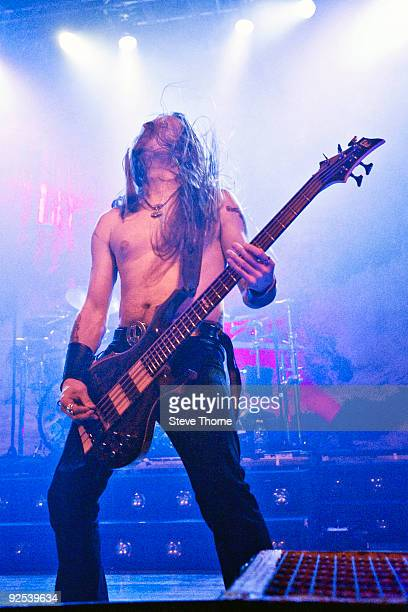 Ted Lundstrom of Amon Amarth performs on stage at Wulfrun Hall on October 28 2009 in Wolverhampton England