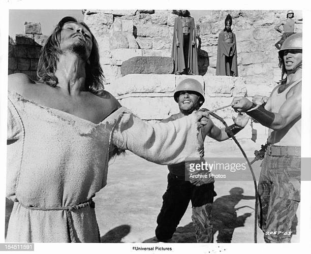 Ted Neeley endures forty lashes ordered by Pontius Pilate in a scene from the film 'Jesus Christ Superstar' 1973