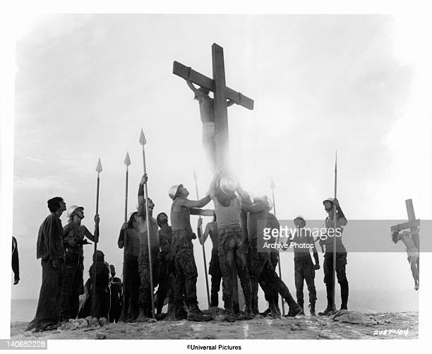 Ted Neeley is crucified by Roman soldiers in a scene from the film 'Jesus Christ Superstar' 1973