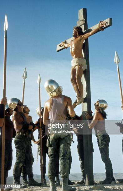 Ted Neeley is crucified in a scene from the film 'Jesus Christ Superstar', 1973.