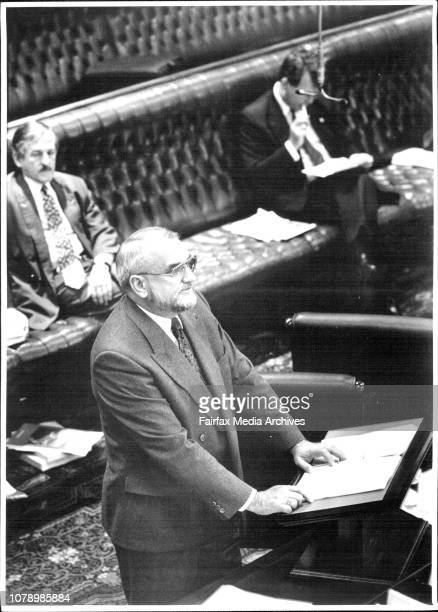 Ted Pickering addressing the house today NSW ParlyMr Pickering reads from his 84page speech in Parliament last nightThe former Minister for Police Mr...