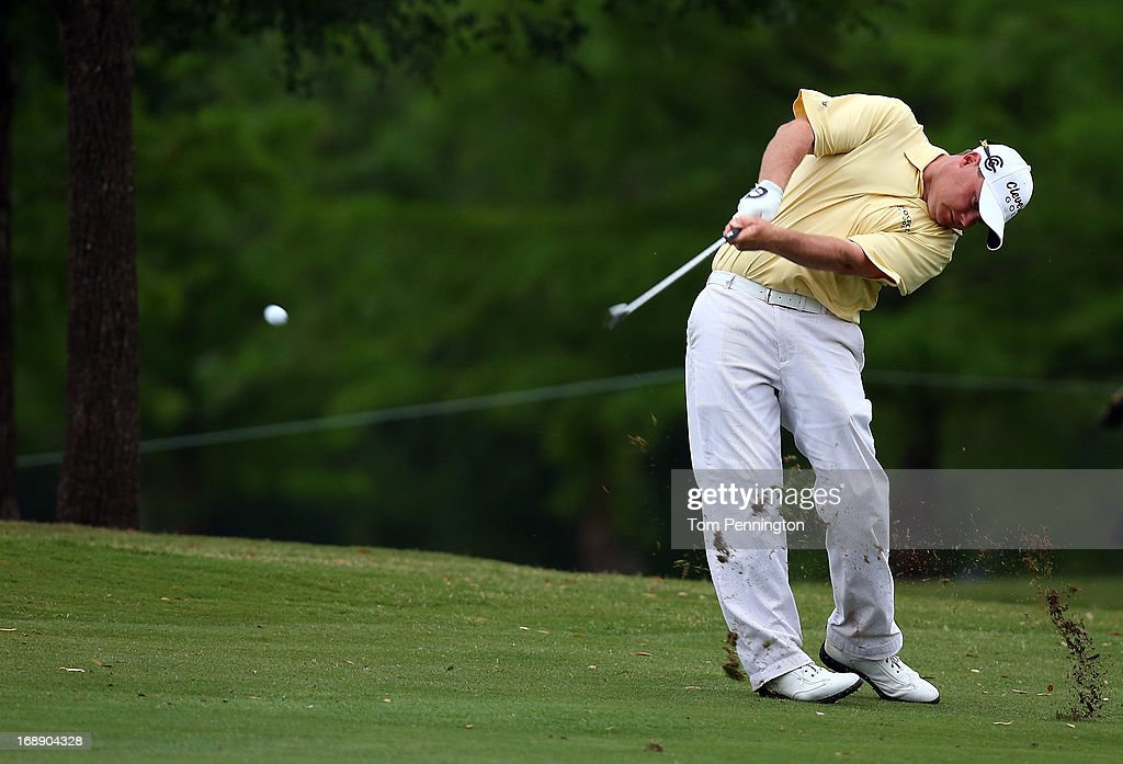 Ted Potter Jr. hits a shot during the first round of the 2013 HP Byron Nelson Championship at the TPC Four Seasons Resort on May 16, 2013 in Irving, Texas.