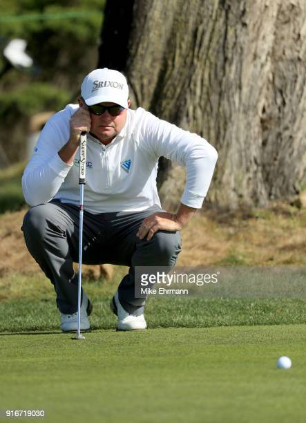 Ted Potter Jr lines up a putt on the 17th green during Round Three of the ATT Pebble Beach ProAm at Monterey Peninsula Country Club on February 10...