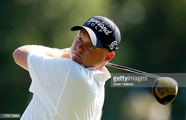 Ted Potter, Jr. Of the United States hits a tee shot during a practice round prior to the start of the 113th U.S. Open at Merion Golf Club on June...