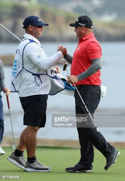 Ted Potter Jr of the USA celebrates winning the ATT Pebble Beach ProAm the Pebble Beach Golf Links on February 11 2018 in Pebble Beach California