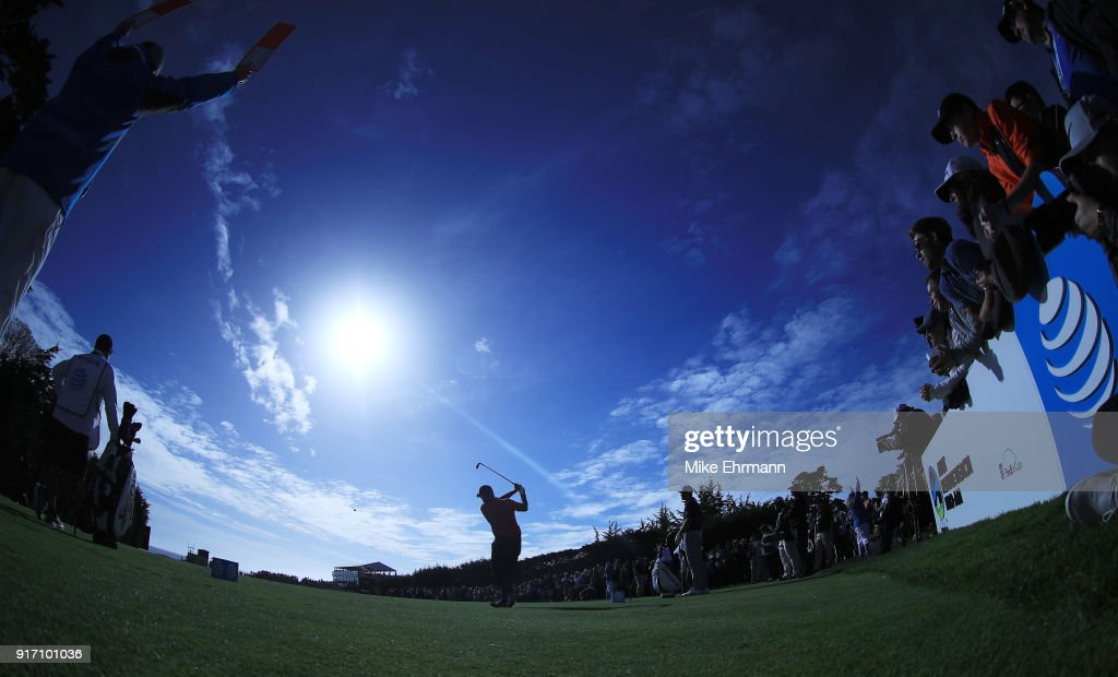 Ted Potter Jr. plays his shot from the 17th tee during the Final Round of the AT&T Pebble Beach Pro-Am at Pebble Beach Golf Links on February 11, 2018 in Pebble Beach, California.
