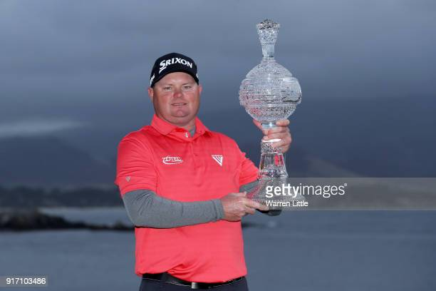 Ted Potter Jr poses with the trophy after winning the ATT Pebble Beach ProAm at Pebble Beach Golf Links on February 11 2018 in Pebble Beach California