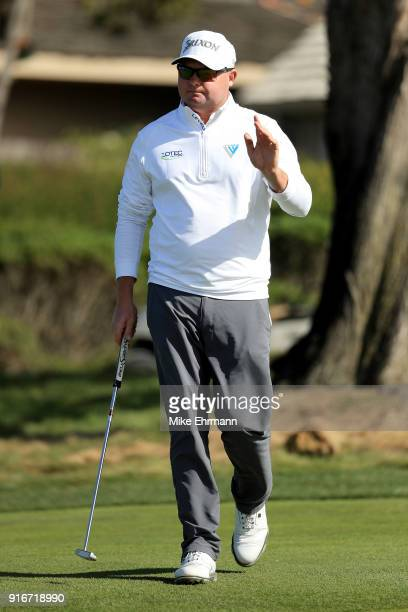 Ted Potter Jr reacts after making bogey on the 17th green during Round Three of the ATT Pebble Beach ProAm at Monterey Peninsula Country Club on...