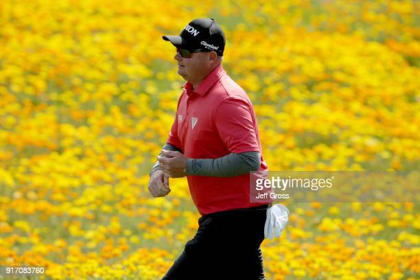 Ted Potter Jr walks across the eighth hole during the Final Round of the ATT Pebble Beach ProAm at Pebble Beach Golf Links on February 11 2018 in...