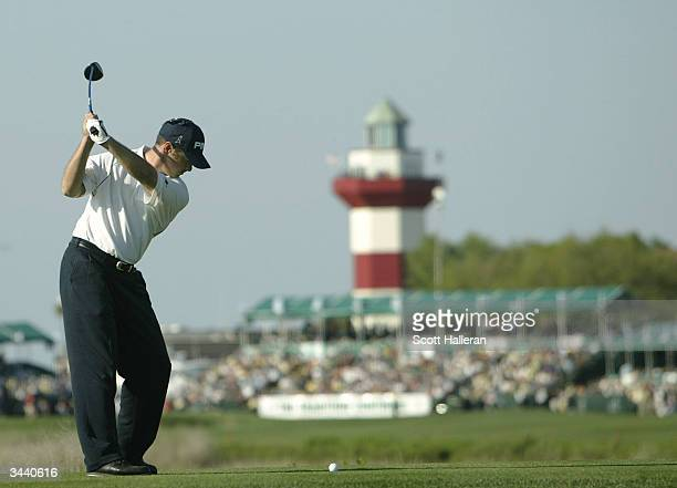 Ted Purdy hits his tee shot on the 18th hole during the third round of the MCI Heritage at Harbour Town Golf Links on April 17 2004 in Hilton Head...