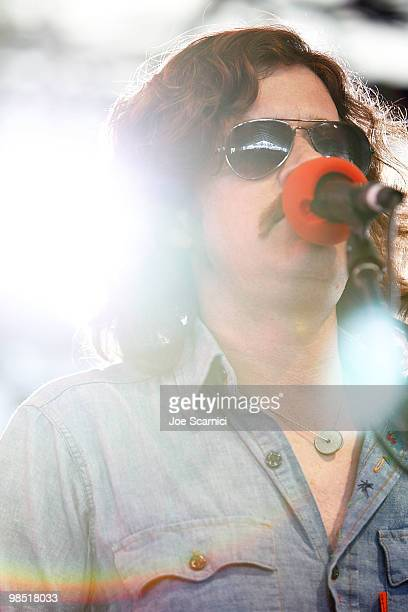 Ted Russell Kamp of Shooter Jennings Hierophant performs on Day 2 of the 2010 Coachella Valley Music Arts Festival at The Empire Polo Club on April...