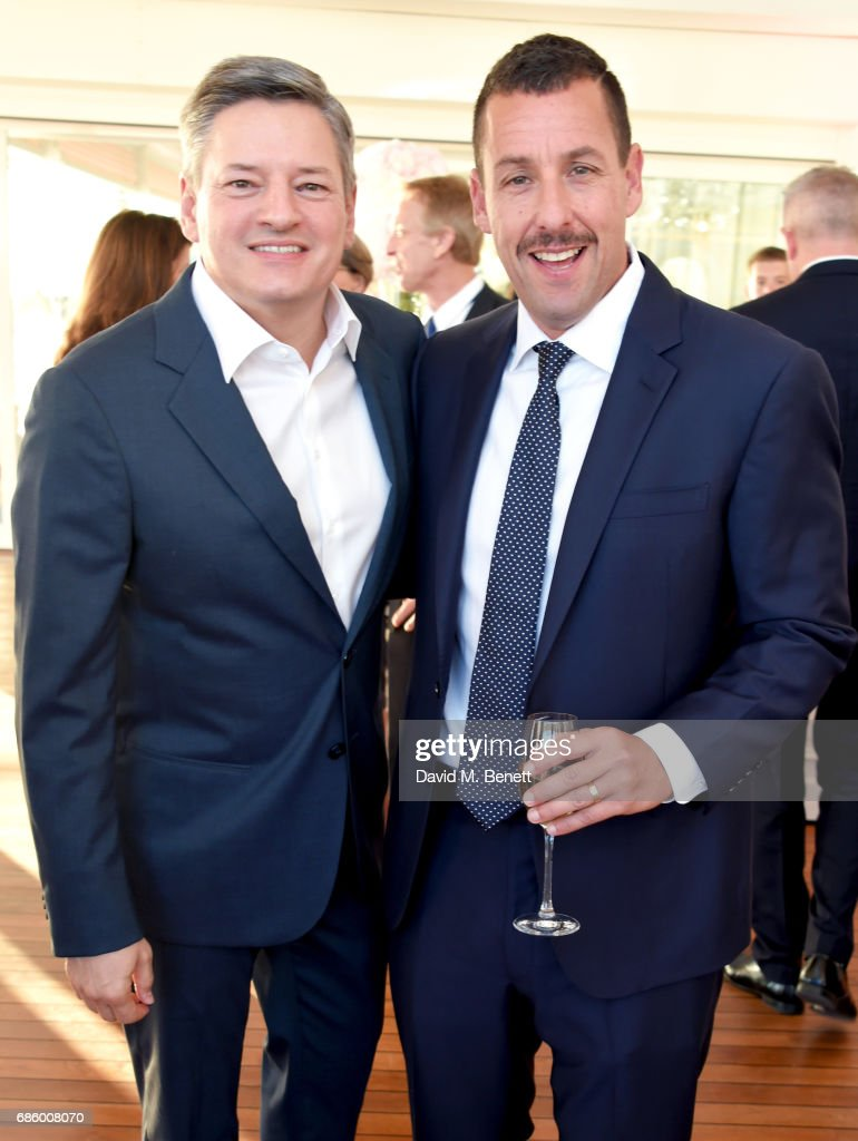Ted Sarandos (L) and Adam Sandler attend the Vanity Fair and HBO Dinner celebrating the Cannes Film Festival at Hotel du Cap-Eden-Roc on May 20, 2017 in Cap d'Antibes, France.