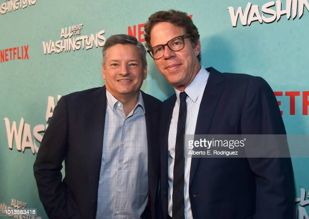 Ted Sarandos and Andrew Reich attend a screening of Netflix's 'All About The Washingtons' at Madera Kitchen Bar on August 8 2018 in Hollywood...