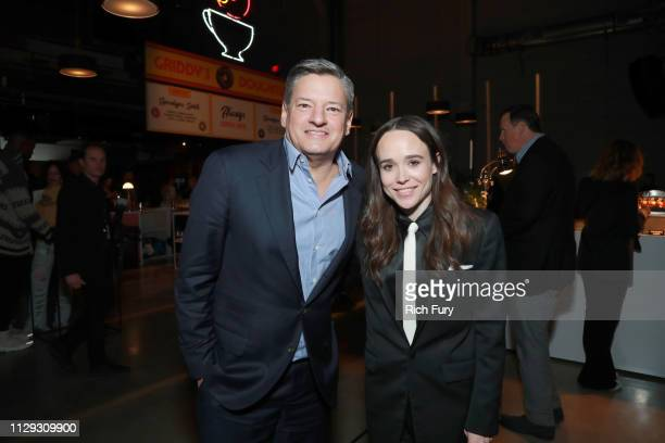 Ted Sarandos and Ellen Page attend the after party for the premiere of Netflix's The Umbrella Academy on February 12 2019 in Hollywood California