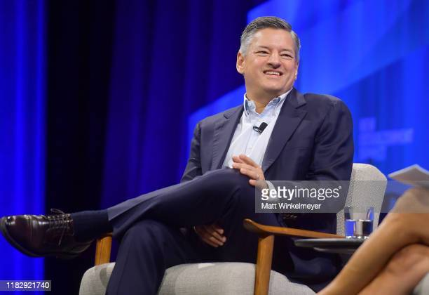 Ted Sarandos Chief Content Officer at Netflix speaks onstage during 'Play Next Episode' at Vanity Fair's 6th Annual New Establishment Summit at...