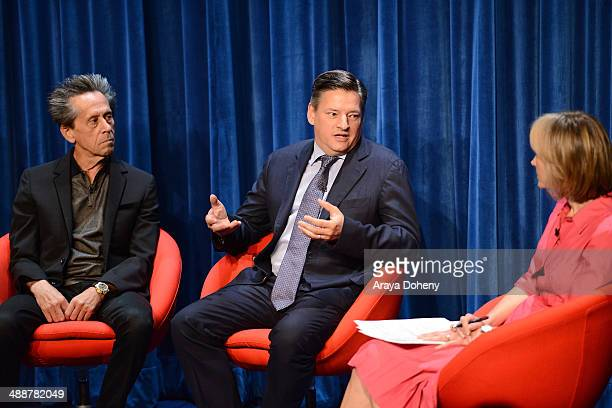 Ted Sarandos Chief Content Officer Netflix speaks onstage to moderator Willow Bay Senior Editor The Huffington Post as Brian Grazer Academy...