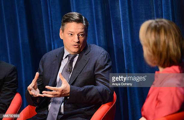 Ted Sarandos Chief Content Officer Netflix speaks onstage to moderator Willow Bay Senior Editor The Huffington Post during 'A Leading Role How Film...