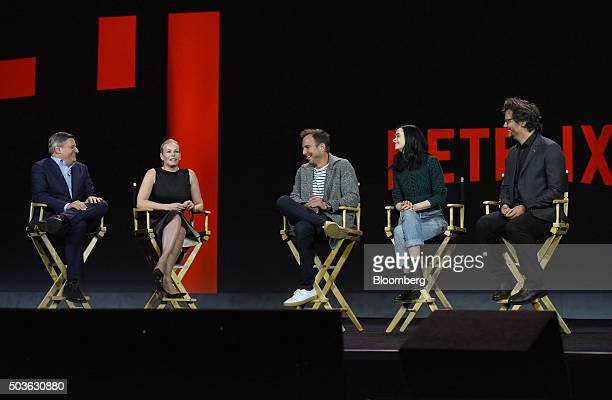Ted Sarandos chief content officer of Netflix Inc from left TV Personality Chelsea Handler actors Will Arnett Krysten Ritter and Wagner Moura attend...