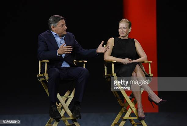Ted Sarandos, chief content officer of Netflix Inc., left, speaks as TV Personality Chelsea Handler listens during an event at the 2016 Consumer...