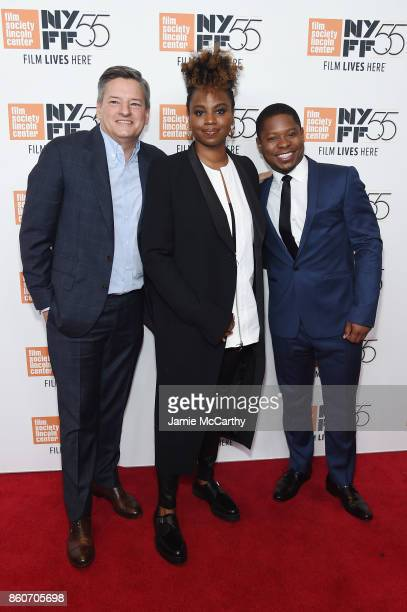 Ted Sarandos Director Dee Rees and Jason Mitchell attend the 'Mudbound' premiere during the 55th New York Film Festival at Alice Tully Hall on...