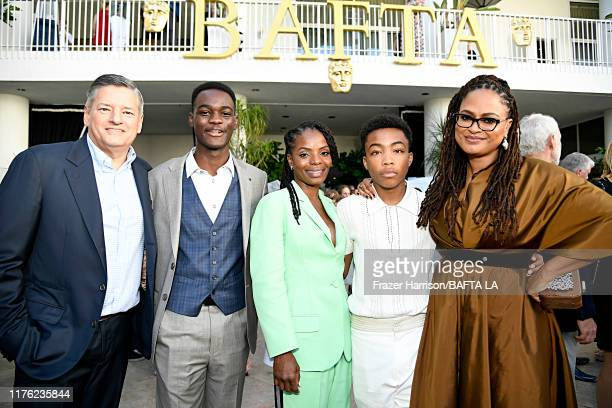 Ted Sarandos Ethan Herisse Marsha Stephanie Blake Asante Blackk and Ava DuVernay attend the BAFTA Los Angeles BBC America TV Tea Party 2019 at The...