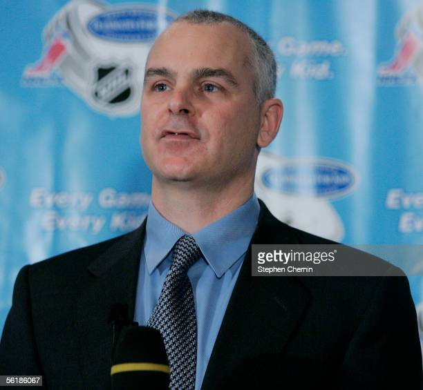 Ted Saskin Executive Director of the NHL Players Association speaks during a news conference November 16 2005 in New York City The National Hockey...