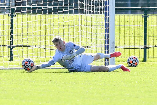 Ted Sharman Lowe of Chelsea makes a save during the Chelsea v Blackburn Premier league 2 match on October 3rd, 2021 in Cobham, England.