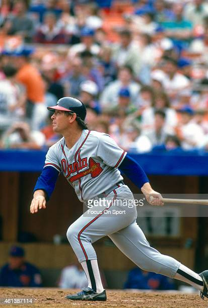 Ted Simmons of the Atlanta Braves bats against the New York Mets during a Major League Baseball game circa 1987 at Shea Stadium in the Queens borough...