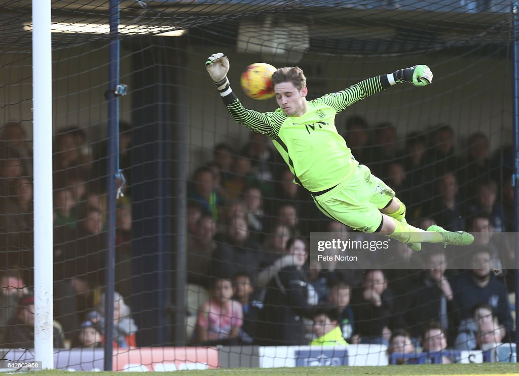 Ted Smith of Southend United dives in vain as a free kick taken by Matt Taylor of Northampton Town hits him prior to Northampton's second goal during the Sky Bet League One match between Southend United and Northampton Town at Roots Hall on February 18, 2017 in Southend, England.