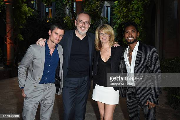 Ted Stafford Jim Moore Madeline Weeks and Miguel attend GQ Party for Jim Moore during Milan Menswear Fashion Week Spring/Summer 2016 at Casa Degli...