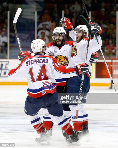 Ted Stephens and Mark Barberio celebrate the third period goal from team mate Brandon Gormley of the Moncton Wildcats during the 2010 Mastercard...