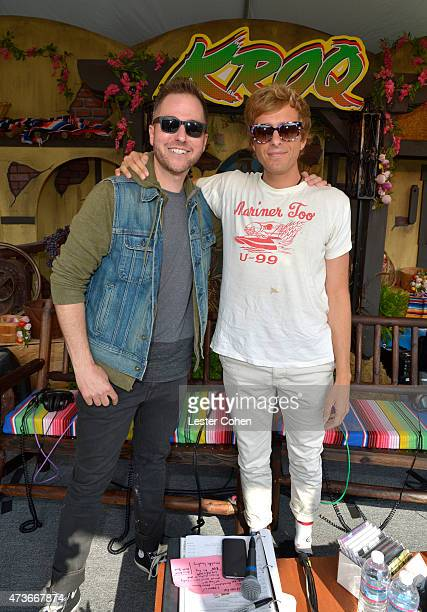 KROQ DJ Ted Stryker and musician Aaron Bruno of Awolnation pose backstage at KROQ Weenie Roast Y Fiesta 2015 at Irvine Meadows Amphitheatre on May 16...