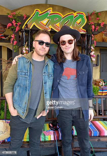 KROQ DJ Ted Stryker and musician James Bay pose backstage at KROQ Weenie Roast Y Fiesta 2015 at Irvine Meadows Amphitheatre on May 16 2015 in Irvine...