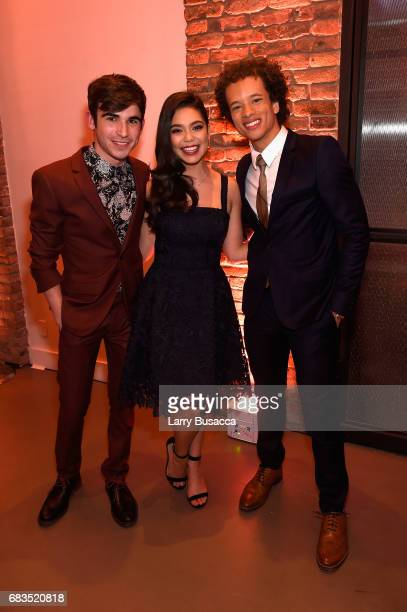 Ted Sutherland Auli'i Cravalho and Damon J Gillespie of Rise attend the Entertainment Weekly and PEOPLE Upfronts party presented by Netflix and Terra...