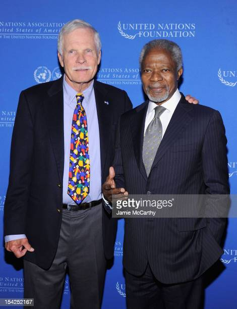 Ted Turner and former Secretary General of the United Nations Kofi Annan attend the 2012 Global Leadership Awards Dinner at Cipriani 42nd Street on...