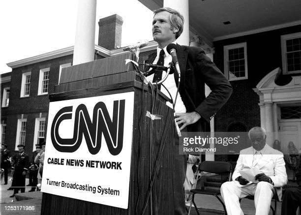 Ted Turner attends official CNN Launch event at CNN Techwood Drive World Headquarters in Atlanta Georgia, June 01, 1980 (Photo by Rick Diamond/Getty...