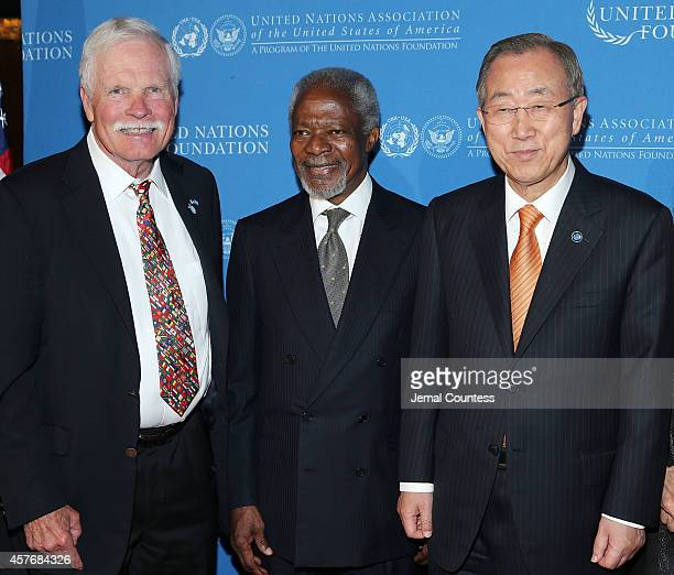 Ted Turner former UN Secretary General Kofi Annan and current UN Secretary General Ban Kimoon attend the 2014 Global Leadership Dinner at Cipriani...