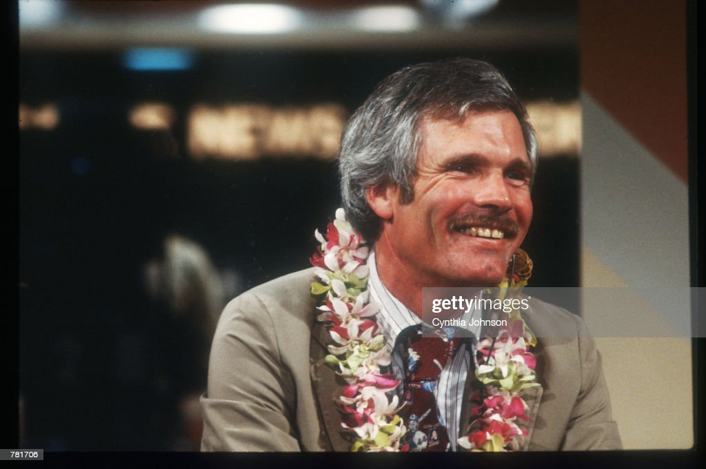 Ted Turner In CNN Studio : News Photo