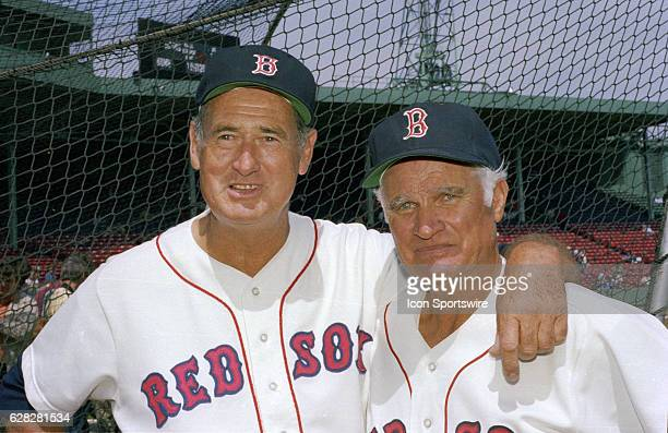 Ted Williams and Bobby Doerr both Boston Red Sox Baseball Hall of Famers during pregame at Fenway Park in Boston MASS