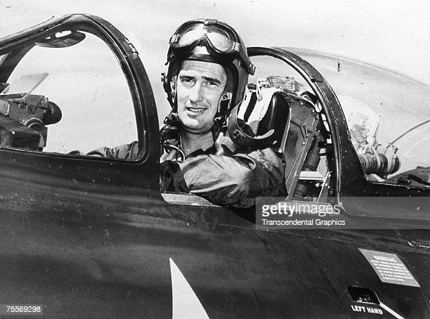 Ted Williams is photographed in the cockpit of his fighter jet in an unknown location during the Korean War in 1952