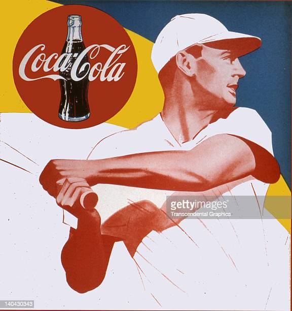 Ted Williams is the batter on this cardboard window poster printed but never issued in Boston Massachusetts circa 1950