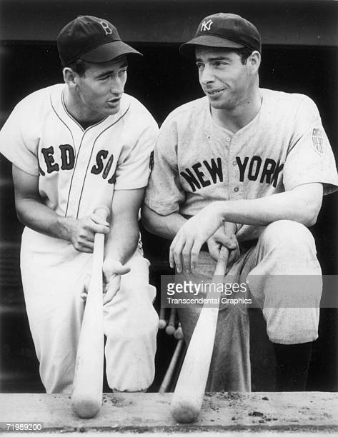 Ted Williams left and Joe DiMaggio outfielders for the Boston Red Sox and New York Yankees respectively compare bats before a game at Yankee Stadium...