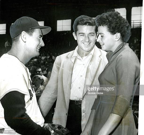 Ted Williams meets Harold Connolly and his bride Olga May 16 1957